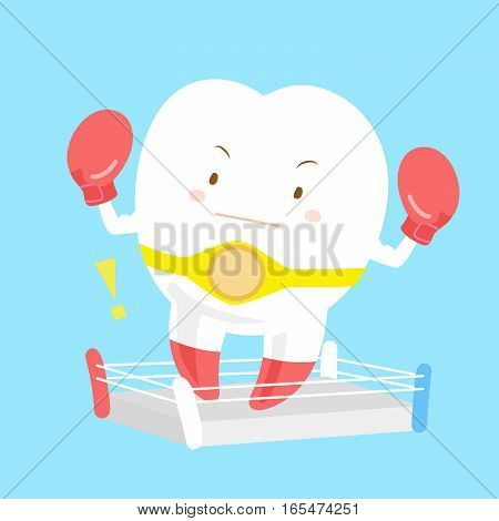 cartoon cute tooth is wear boxing gloves