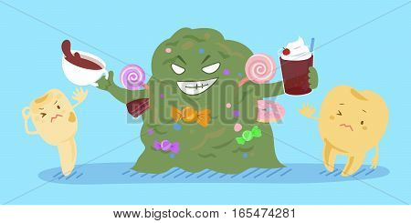 cartoon tooth decay feel afraid with bacterium