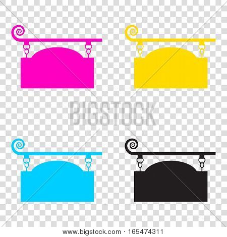 Wrought Iron Sign For Old-fashioned Design. Cmyk Icons On Transp