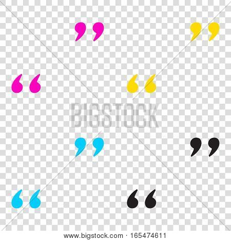 Quote Sign Illustration. Cmyk Icons On Transparent Background. C