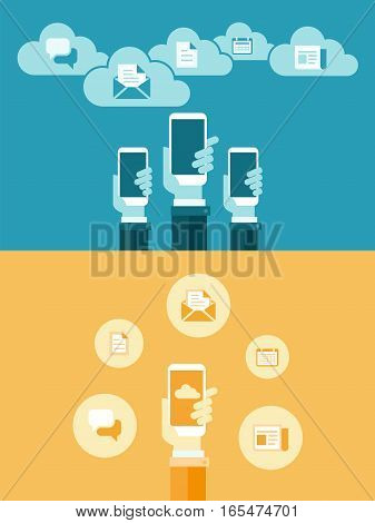 Business online on mobile and online marketing concept