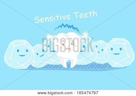 cute cartoon sensitive teeth feel cold with ice