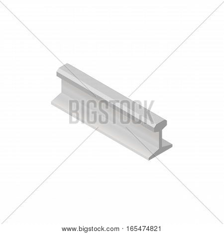 Steel rails isolated on white background. Railway track design element. Flat 3D isometric style vector illustration.