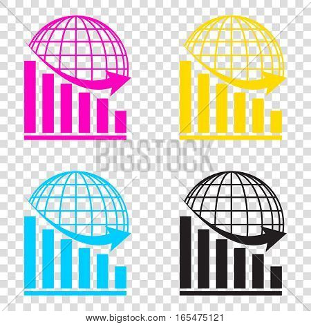 Declining Graph With Earth. Cmyk Icons On Transparent Background