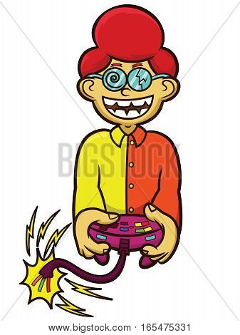 Crazy Gamer With Game Controller Cartoon Character Isolated on White