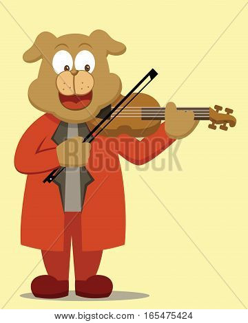 Dog Violinist Playing Violin Vector Cartoon Illustration