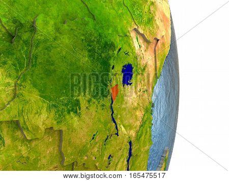 Burundi In Red On Earth