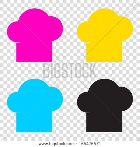 Chef Cap Sign. Cmyk Icons On Transparent Background. Cyan, Magen