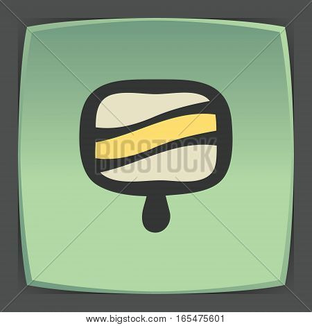 Vector outline fruit ice cream lolly food icon on green flat square plate. Elements for mobile concepts and web apps. Modern infographic logo and pictogram.