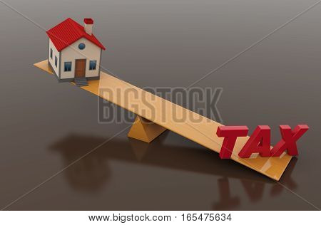 Tax Concept with 3d House Model - 3D Rendered Image