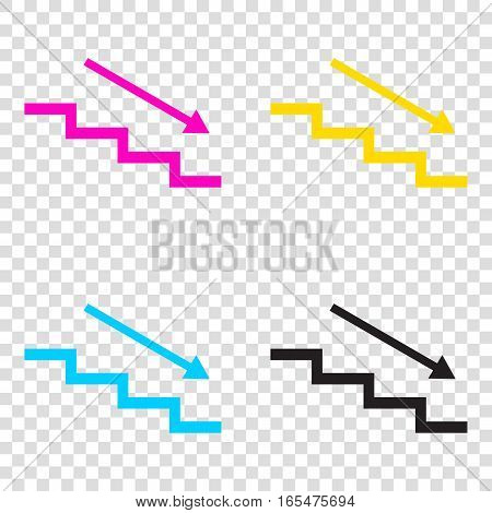 Stair Down With Arrow. Cmyk Icons On Transparent Background. Cya