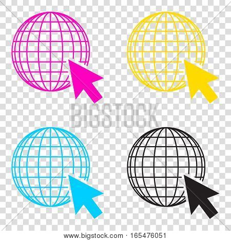 Earth Globe With Cursor. Cmyk Icons On Transparent Background. C