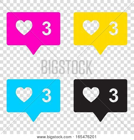 Like And Comment Sign. Cmyk Icons On Transparent Background. Cya