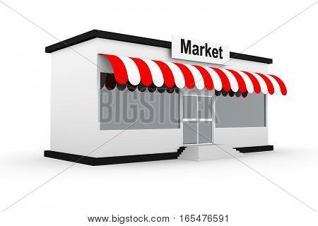 market model building on white background 3D illustration