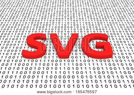 svg in the form of binary code, 3D illustration
