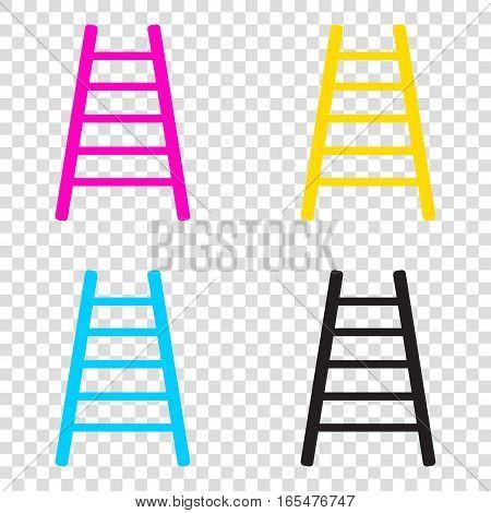 Ladder Sign Illustration. Cmyk Icons On Transparent Background.