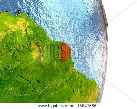 French Guiana In Red On Earth