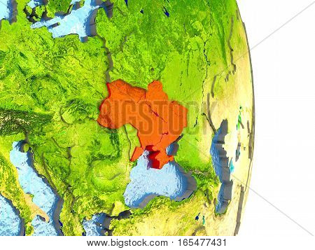Ukraine In Red On Earth