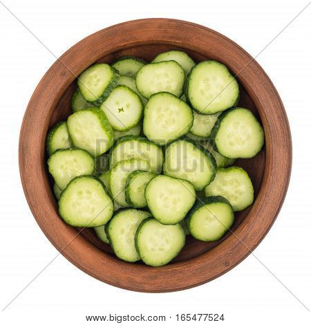 Bowl of fresh cucumber slices top view