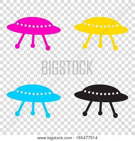 Ufo Simple Sign. Cmyk Icons On Transparent Background. Cyan, Mag