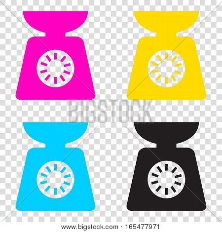 Kitchen Scales Sign. Cmyk Icons On Transparent Background. Cyan,