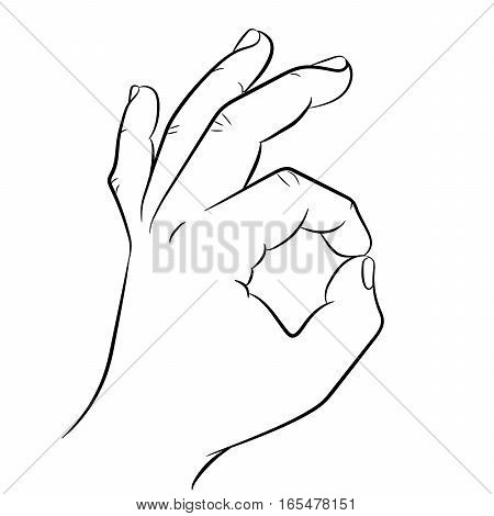 Hand showing OK sign on white background of vector illustrations