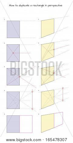 Infographic for designers How to duplicate a rectangle in perspective isolated on white