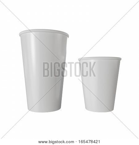 Fast food isolated white paper cups. 3D render illustration.