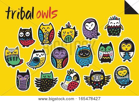Set of cartoon patch badges with tribal owls. Set of stickers, pins, patches in cartoon comic style.