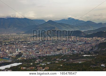 top view of a town near vesuvius volcano south italy