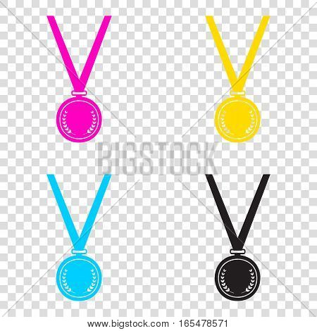 Medal Simple Sign. Cmyk Icons On Transparent Background. Cyan, M