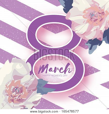 Showy Bouquet White Peony Flowers. Beautiful Floral Greeting card with Paper cut violet eight, space for text. Origami 8 March. International Happy Women's Day. Stripes background.Vector illustration