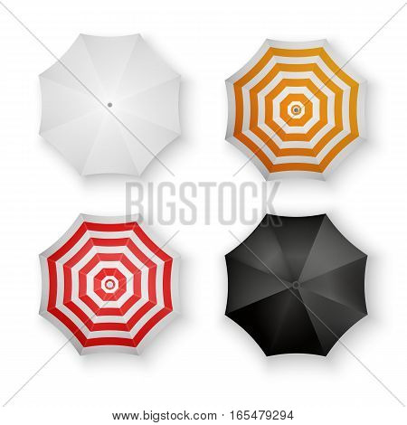 Set of Colorful Umbrellas Isolated Vector Illustration
