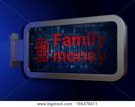 Money concept: Family Money and ATM Machine on advertising billboard background, 3D rendering