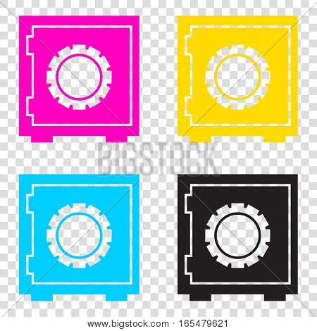 Safe Sign Illustration. Cmyk Icons On Transparent Background. Cy