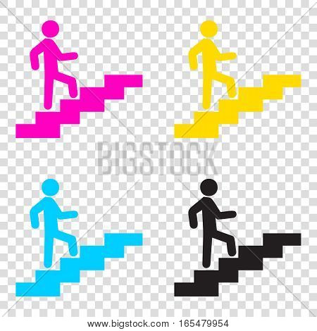 Man On Stairs Going Up. Cmyk Icons On Transparent Background. Cy