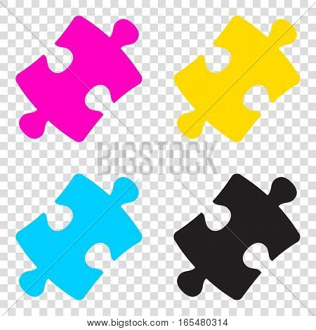 Puzzle Piece Sign. Cmyk Icons On Transparent Background. Cyan, M