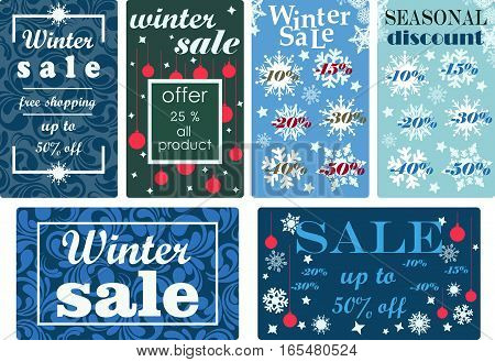 Set colorful background posters, labels, stamps, stickers collection, price tags with snowflakes and Christmas balls for winter sales and seasonal discounts.