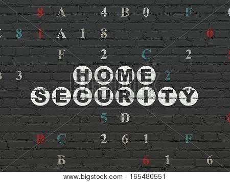 Privacy concept: Painted white text Home Security on Black Brick wall background with Hexadecimal Code