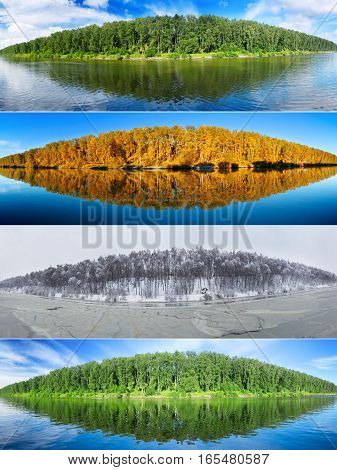 Four seasons collage : summer fall winter and spring. Set of the same landscapes of forest lake. Panorama.