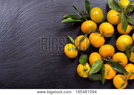 Mandarin Oranges Fruit With Leaves
