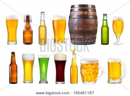 Set Of Various Glasses, Mugs And Bottles Of Beer