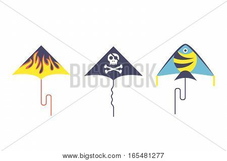 Kites icon. Flying fun air art retro fabric style vector illustration. Festival paper cartoon abstract joy toy. Color childhood happy origami activity.