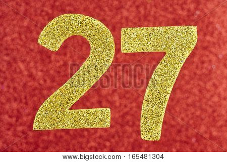 Number twenty-seven yellow color over a red background. Anniversary. Horizontal