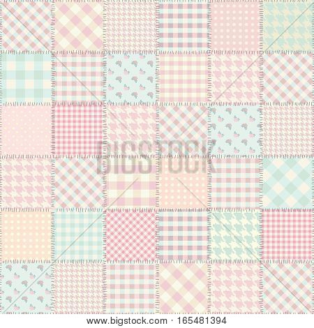 Seamless background pattern. Pink patchwork in a Shabby chick style.