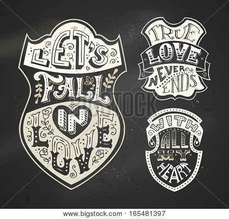 Vector Set Of Chalk Romantic Labels On Blackboard Background.