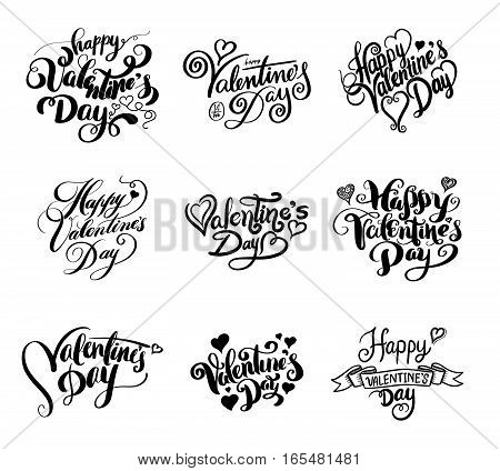 Happy Valentine's day lettering. Vector illustration for valentine's card.