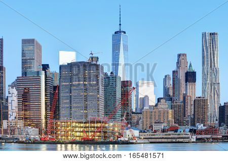 New York City at night with freedom tower