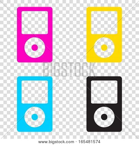 Portable Music Device. Cmyk Icons On Transparent Background. Cya