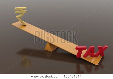 Tax Concept with Rupee symbol - 3D Rendered Image